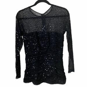 Tadashi Shoji Evening Black Sequin Sheer Top